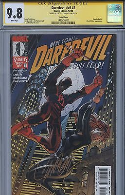 SS CGC 9.8 NM/M Daredevil V2 2 Black Widow Variant Sgnd by Campbell (Avengers)
