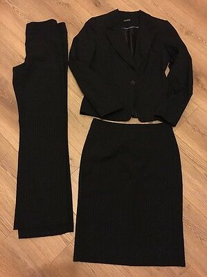 Ladies Smart Pinstripe 3 Pc Suit by George; Jacket, Trousers And Skirt, Size 8