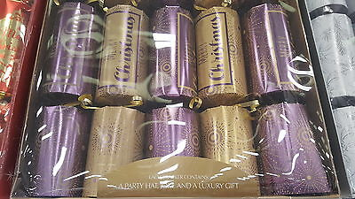 "10 Luxury PURPLE & GOLD  Christmas crackers.GIANT  SIZE 14"" x 3"""