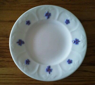 "Adderley Ware Plate 7"" White & Embossed Blue Copper Luster Grape Pattern"