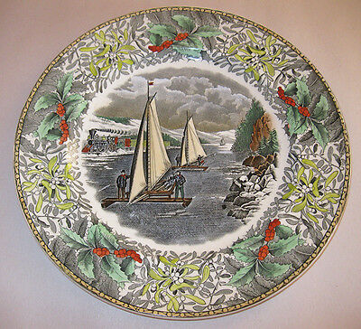Adams England Winter Scenes Dinner Plate Ice Boat Race Hudson Currier