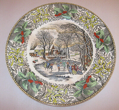 Vintage Adams England Winter Scenes Dinner Plate Winter Pastime Currier 1920s