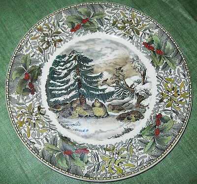 Adams England Winter Scenes Dinner Plate Snowed Up Ruffed Grouse Currier 1920s