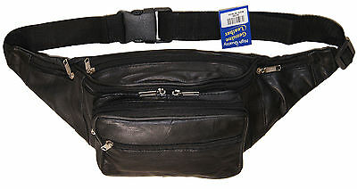 Genuine Leather Jumbo Sized Seven Zippered Pouch Fanny Pack Black