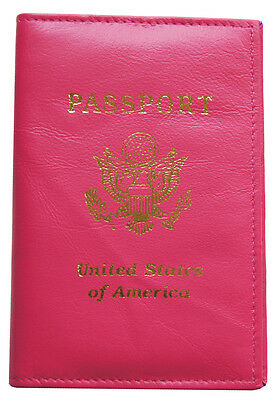 New Pink Real Leather US Passport Cover ID Holder Wallet Travel Case Handmade