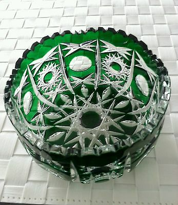 Genuine Vintage Bohemian Glass Cut to Clear Emerald Green  Bowl Dish  XMAS