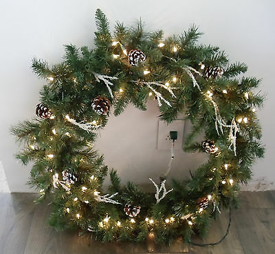 "26"" Lighted Artifical Pine Snow Cover Pine Cones Ice Spriges Christmas Wreath"