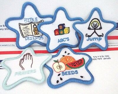 """Embroidered Iron On Patches Prayers, Bible Friends, ABC's, Seeds & Jump, 2 3/4"""""""