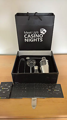 Microsoft Casino Nights Promotional Cocktail Set, Cards and Money Clip *NEW*