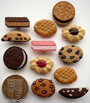 BISCUIT JAR Novelty Craft Buttons Cookies Chocolate Sweets Food Cake Sewing Fun