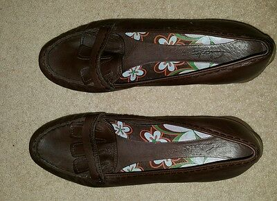 Clarks Garnet Brown Leather Mules Size 7.5
