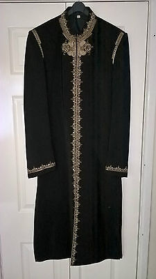 Mens Indian/Pakistani Black Shervani with pyjama wedding party outfit - Size 36