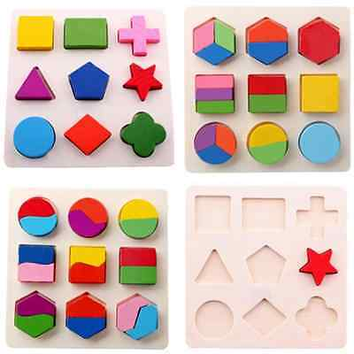 Baby Kids Wooden Learning Educational Toy Geometry Block Montessori Early Toys