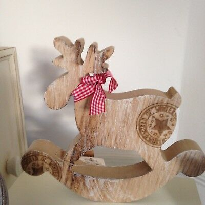 Chunky Rustic Nordic, Wooden Rocking Horse and Deer with stamp