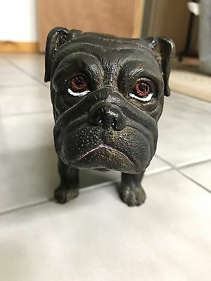 VTG Cast Iron Large Bull Dog Door Stop As Is Heavy