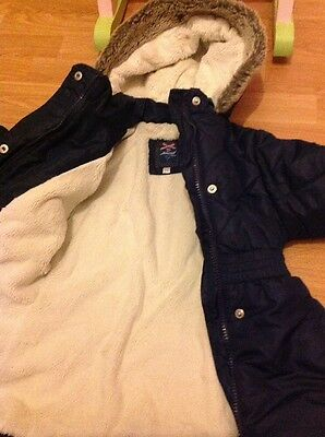 Gorgeous Navy Quilted, Fur Lined Coat With Hood By Junior J Size 3-4 Years
