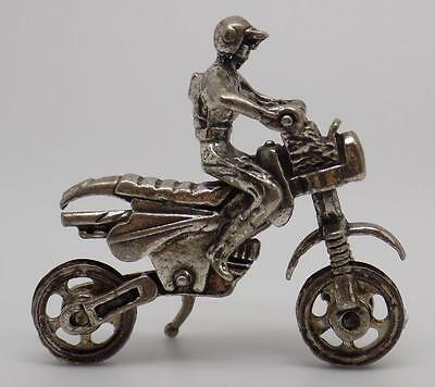 Vintage Solid Silver Motocross Bike Miniature - Stamped - Made in Italy