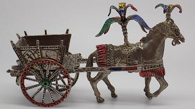 Vintage Solid Silver 12cm HUGE Traditional Sicilian Carriage - Stamped - Italian