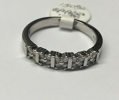 Vintage 10K White Gold Diamond Wedding Band Ring, Stackable Anniversary Ring