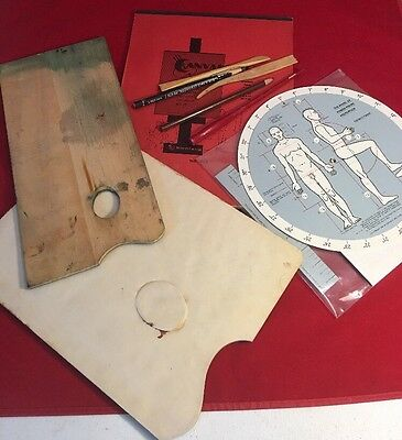 Small Lot Vintage Art Supplies Canvas Tools Pallet And Covers