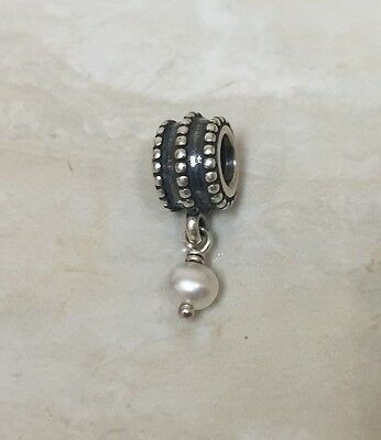 PANDORA Sterling Silver Bevelled, White Pearl Charm 790132P
