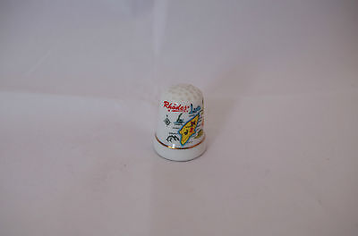 White Ceramic Thimble with a map of Rhodes