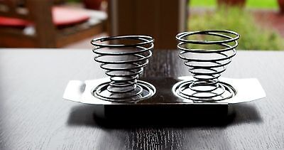 Pair of Stainless Steel Spring Wire Egg Cups