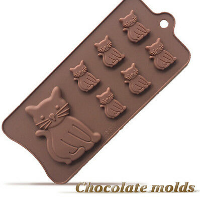Food Grade Cat Kitten  Silicone Ice Cube Tray Chocolate Mould Candy Kids Party