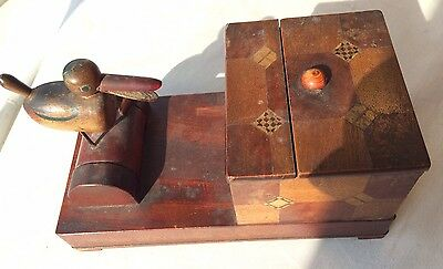 Old Treen Black Forest Carved Wood Box,vintage Cigarette Box,smoking Tobacco