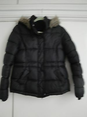 GIRL'S BLACK PADDED JACKET WITH FAUX FUR TRIMMED HOOD - HEIGHT 158 cm