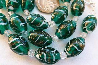 Art Deco Style White & Gold Adventurine Feather Art Green Glass Bead Necklace