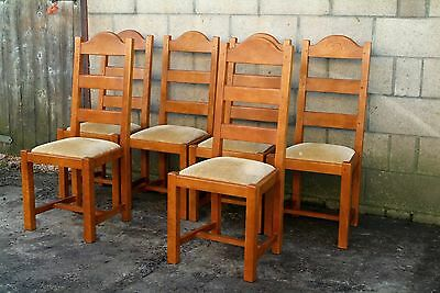 6 French Solid Oak Ladder Back Farmhouse Dining Chairs