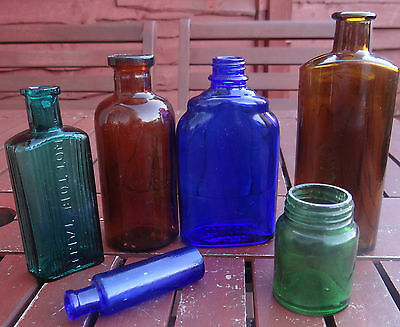 Charming Group Of 6 Apothecary:cure & Poison Bottles Even Stunning.nice Colours