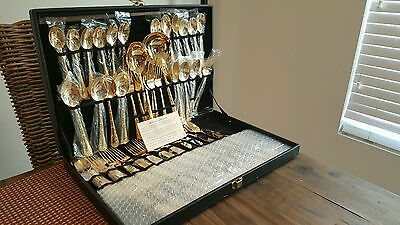 gold plated silverware set