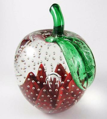 """Vintage Joe St. Clair Apple Controlled Bubble 4.5"""" Art Glass Paperweight Signed"""