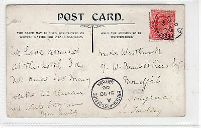 Picture postcard to Turkey with BRITISH POST OFFICE SMYRNA postmark (C23351)