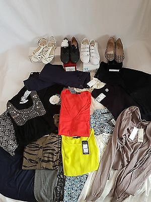 Job Lot 21 Items Womens clothing Mixed Brands Cardigan, Tops, Jeans, Shoes, BNWT