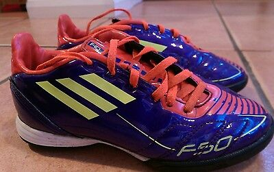 Boys Adidas F50 astro tuft trainers football boots size 13 K VGC