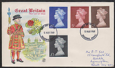 MACHIN HIGH VALUES 1969 SET on STEWART ILLUSTRATED FDC
