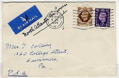 Gb - London: 1939 North Atlantic Air Service Cover To Usa (C23391)