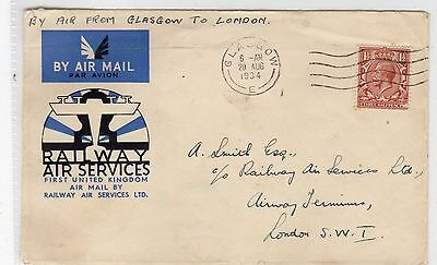Scot - Glasgow: 1934 Railway Air Services Cover To London (C23393)