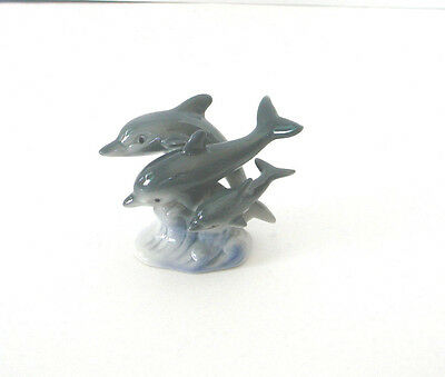 Ceramic Porcelain Three Dolphins Figurine Grey With Blue Wave Ocean Mint
