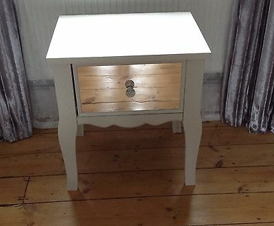 Bedside Table.Side Table With Mirrored Drawer Glass Handle  French Shabby