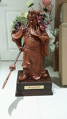 """30"""" Chinese wood guan gong warrior statue"""
