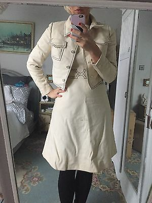 VINTAGE Handmade White Channel (ish) Dress 1960s White With Jacket Suit Wedding