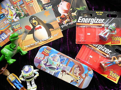 TOY STORY LOT Rare Energizer Battery Models Buzz Woody Collection Postcards Tin