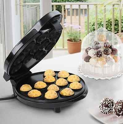 Black Electric Cake Pop Maker Mould Machine 12 Small Cake Hole Ball Non-Stick