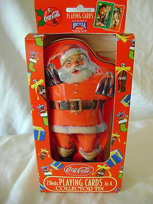 Coca Cola Santa Collector Tin in Box with 2 Sealed Decks of Playing Cards