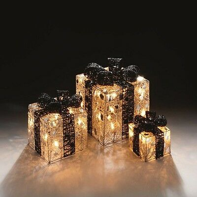 Premier Set of 3 Lit Parcels Christmas Silver Gifts with 40 Clear Fairy Lights