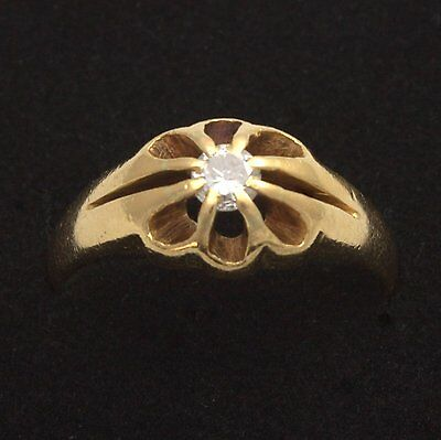 Antique 22ct Gold Solitaire Diamond Gents Gypsy Ring Size P Hallmarked 1898